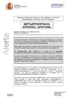 Alerta de la AEPSAD en relación a la sustancia METILEPITIOSTANOL (EPISDROL, EPISTANE)