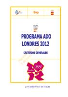 Programa ADO Londres 2012. Criterios generales