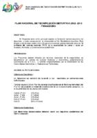Proyecto del «Plan Nacional de Tecnificación Deportiva de Piragüismo 2013-2014»