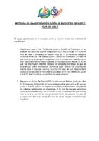 SISTEMA DE CLASIFICACION PARA EL EUROPEO JUNIOR Y SUB 2017