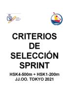 Crirterios K4_K1. SPRINT JJOO 2021
